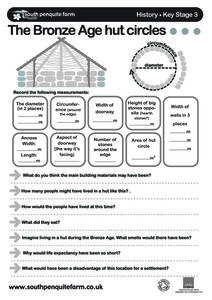 The Bronze Age Hut Circles: Consumer Math Worksheet