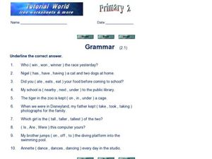 Grammar Online Activity Worksheet
