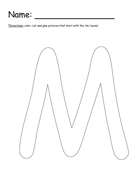 letter m cut and paste worksheet for kindergarten 1st grade lesson planet. Black Bedroom Furniture Sets. Home Design Ideas