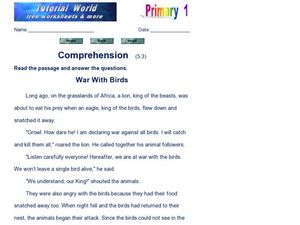 Comprehension: War With Birds Worksheet