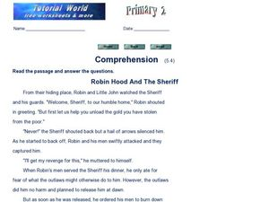 Comprehension: Robin Hood and the Sheriff Worksheet