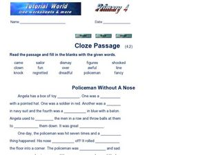 Cloze Passage: Policeman Without A Nose Worksheet