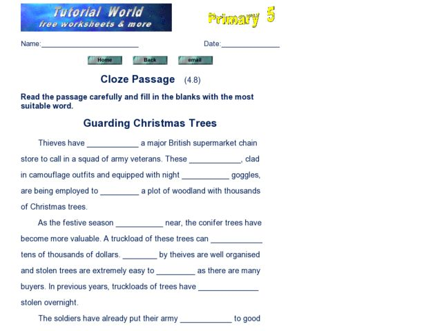 Cloze Passage: Guarding Christmas Trees Worksheet