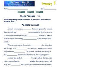 Cloze Reading Lesson Plans & Worksheets | Lesson Planet
