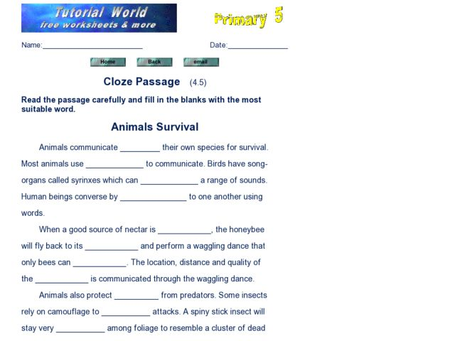 Cloze Passage: Animal Survival Worksheet for 3rd - 5th Grade