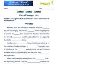 Cloze Passage: Primates Worksheet