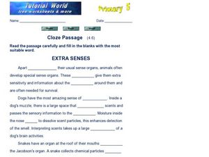 Cloze Passage: Extra Senses Worksheet