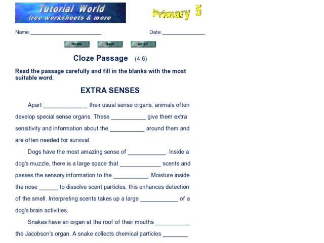 Cloze Reading Passages Space Lesson Plans Worksheets – Cloze Reading Worksheets