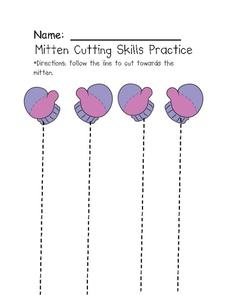Mitten Cutting Skills Practice Worksheet