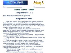 Comprehension: Respect Your Name Worksheet