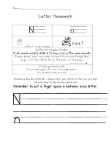 Letter Homework: Nn Worksheet