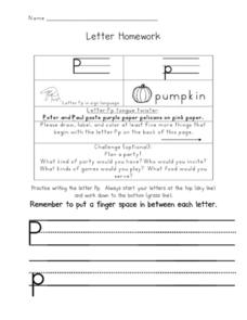 Letter Homework: Pp Worksheet