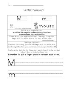 Letter Homework: Mm Worksheet