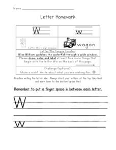 Letter Homework: Ww Worksheet