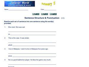 Sentence Structure and Punctuation 5 Worksheet