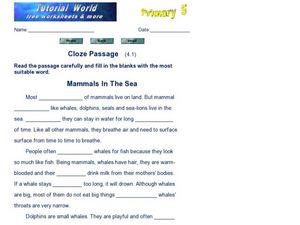 Cloze Passage: Mammals in the Sea Worksheet