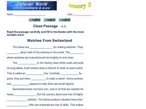 Cloze Passage: Watches from Switzerland Worksheet