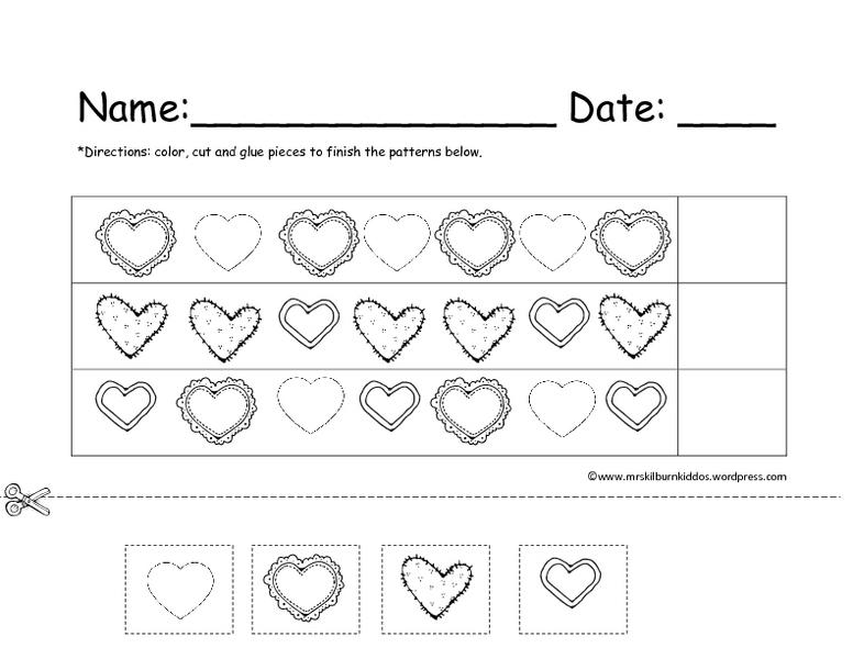 Valentine Pattern Completion Worksheet for Kindergarten | Lesson ...