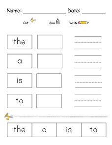 Word Recognition: the, a is, to Worksheet