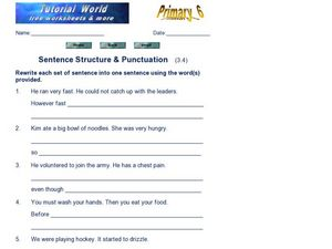 Sentence Structure & Punctuation (3.4) Worksheet