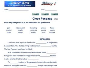 Cloze Passage - Singapore Worksheet