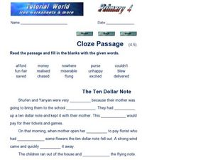 Cloze Passage: The Ten Dollar Note Worksheet