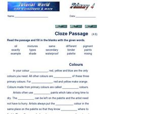Cloze Passage: Colours Worksheet