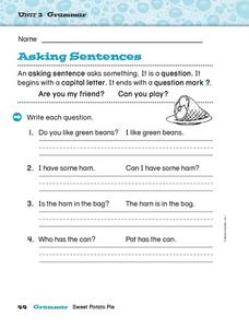 """Asking"" Sentences Worksheet"