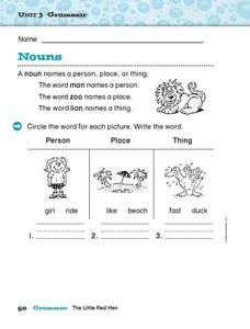 Unit 3 Grammar - Nouns Worksheet
