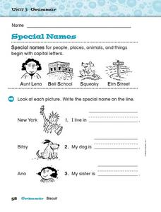 Grammar - Special Names Worksheet
