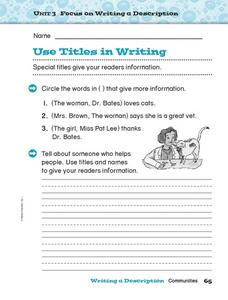 Focus on Writing a Description - Use Titles in Writing Worksheet