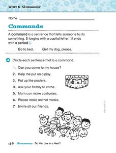 Unit 6 Grammar - Commands Worksheet