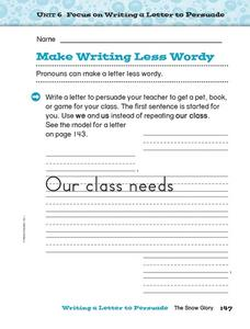 Focus on Writing a Letter to Persuade: Making Writing Less Wordy Worksheet