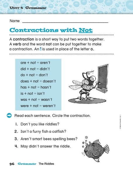 Unit 4 Grammar - Contractions with Not Worksheet