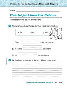 Use Adjectives For Colors Worksheet
