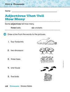 Adjectives That Tell How Many Worksheet