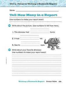Tell How Many in a Report Worksheet