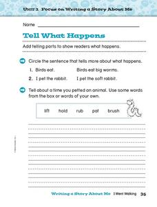 Tell What Happens Worksheet