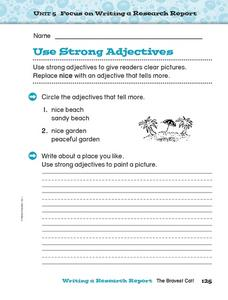 Use Strong Adjectives Worksheet