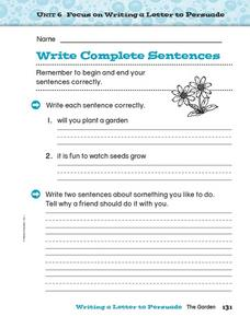 Write Complete Sentences Worksheet