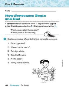 How Sentences Begin and End Worksheet