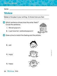 "Voice- The ""You"" in Writing Worksheet"