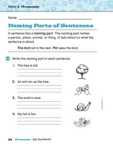 Naming Parts of Sentences Worksheet