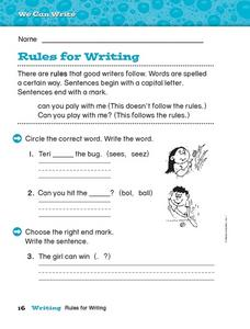 Rules for Writing Worksheet