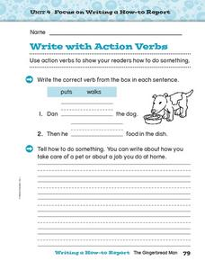 Write with Action Verbs Worksheet
