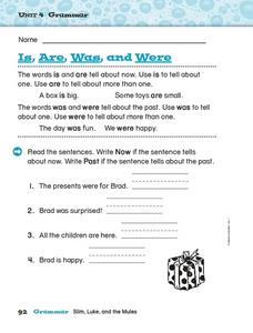 Is, Are, Was, and Were Worksheet