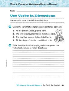Use Verbs in Directions Worksheet