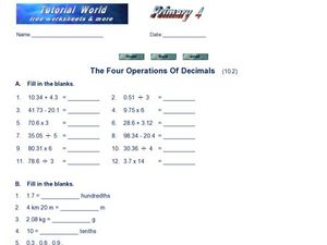 The Four Operations of Decimals Worksheet