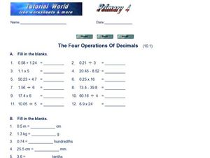 The Four Operations of Decimals: Worksheet 2 Worksheet