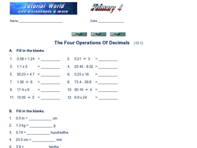 Collection of Operations With Decimals Worksheet Sharebrowse – Order of Operations with Decimals Worksheets